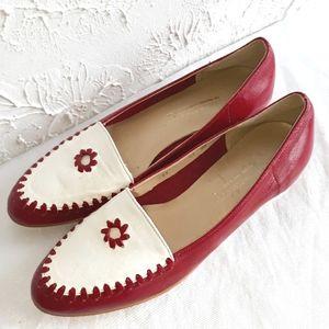Brand new HANDMADE Steve Salario Red & White Flats